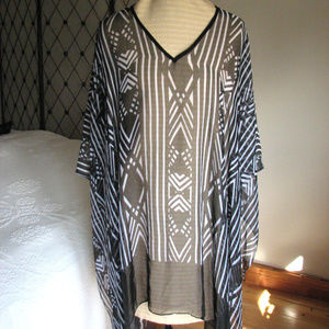 CATHERINES poncho coverup black white sheer